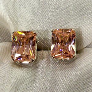 Suzanne Somers PINK CZ EARRINGS SILVER Pierced NEW